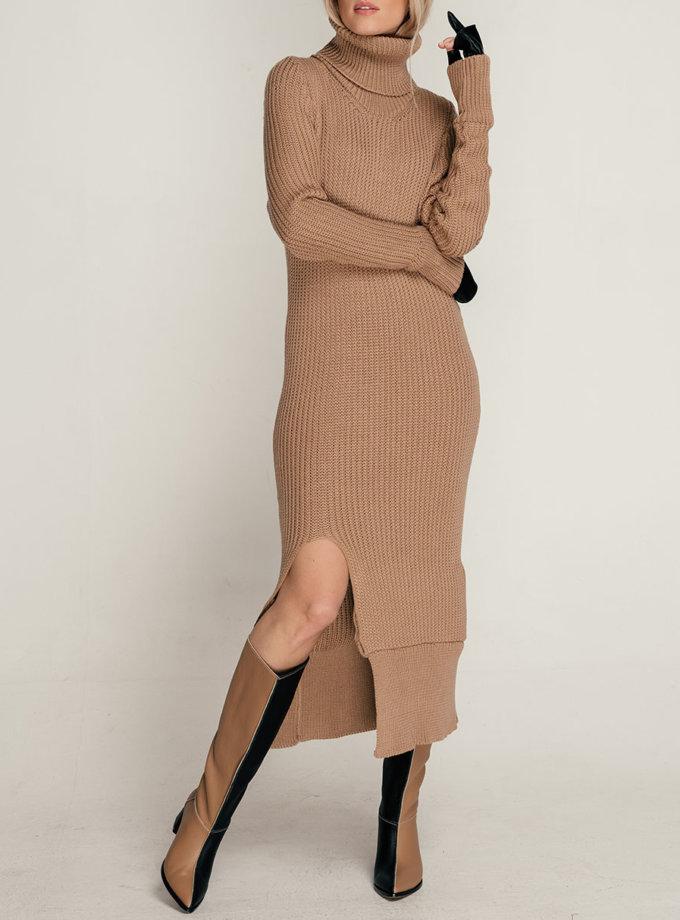 Платье вязанное с разрезом SE_SE21-Dr-Hople-Bg, фото 1 - в интернет магазине KAPSULA