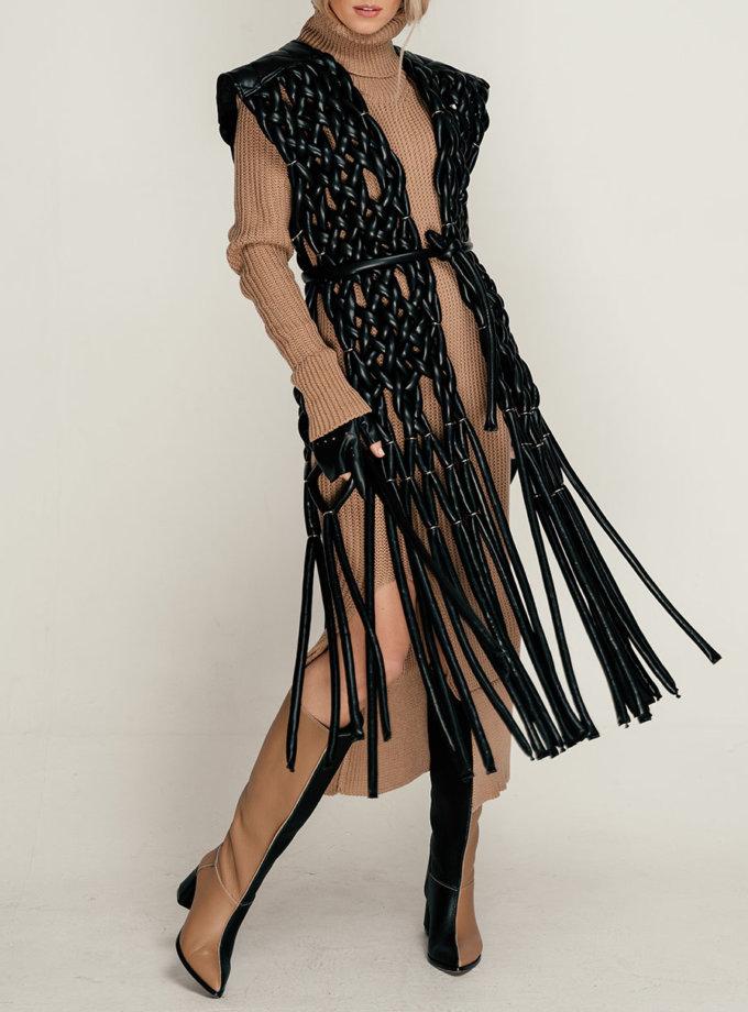 Жилет в'язаний з еко-шкіри SE_SE21-Vst-Faga-B, фото 1 - в интернет магазине KAPSULA