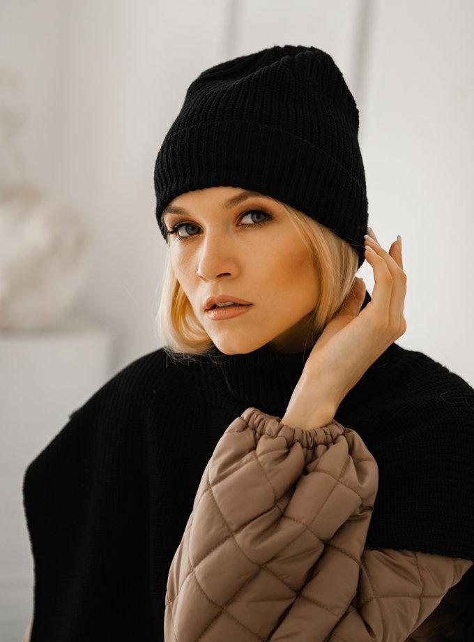 Шапка из шерсти мериноса SHE_hat_black, фото 1 - в интернет магазине KAPSULA