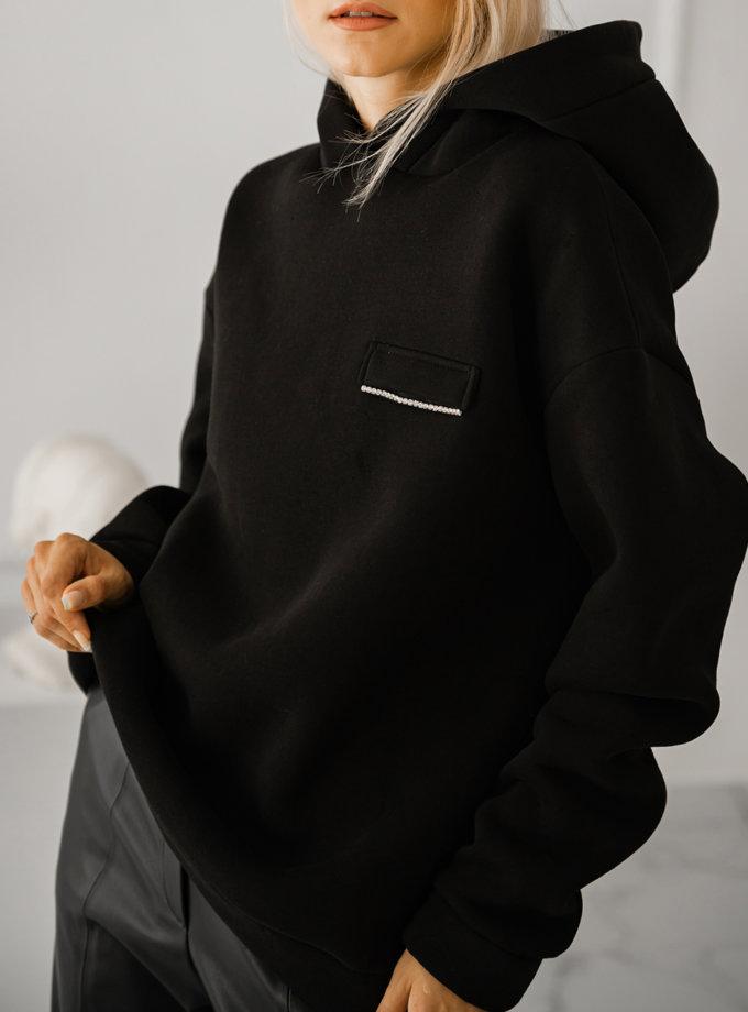 Худи oversize на флисе SHE_hoody_black, фото 1 - в интернет магазине KAPSULA
