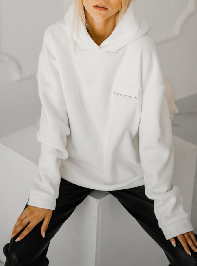 Худи oversize на флисе SHE_hoody_milk, фото 1 - в интернет магазине KAPSULA