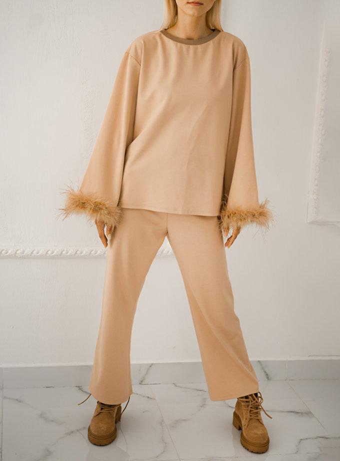Костюм зі страусиним пір'ям SHE_suitfeathers_beige, фото 1 - в интернет магазине KAPSULA