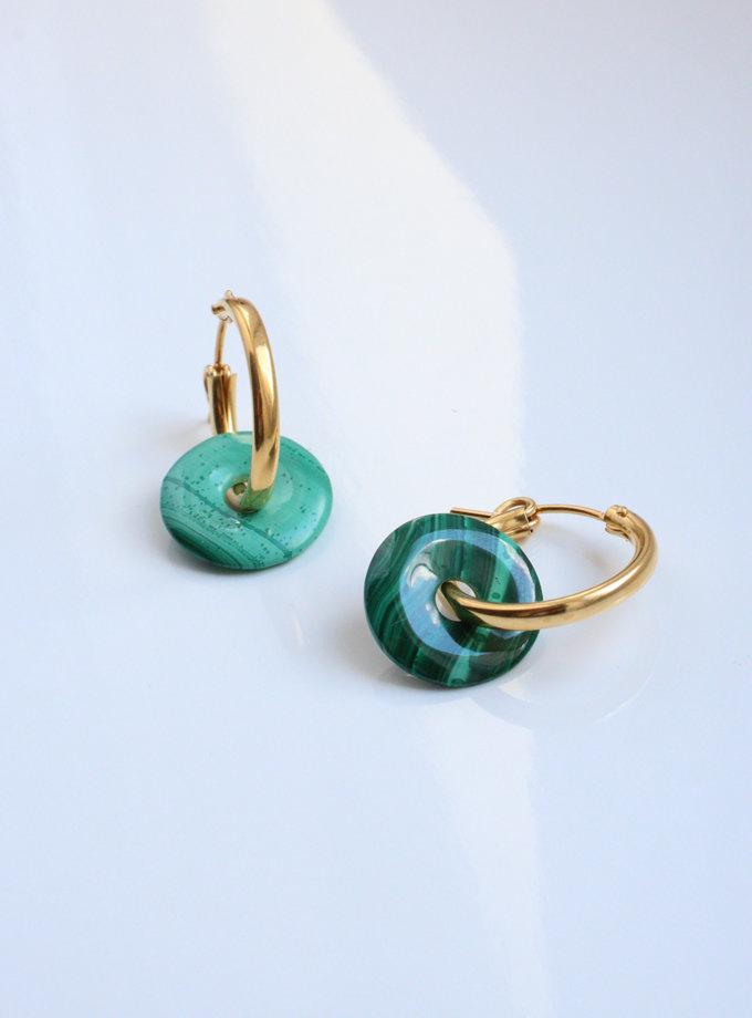 Серги кольца с донатами из малахита SLR_SSER_003, фото 1 - в интернет магазине KAPSULA