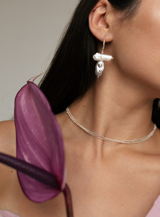 Сережки кільця з перлинами SLR_SSER_005, фото 1 - в интернет магазине KAPSULA