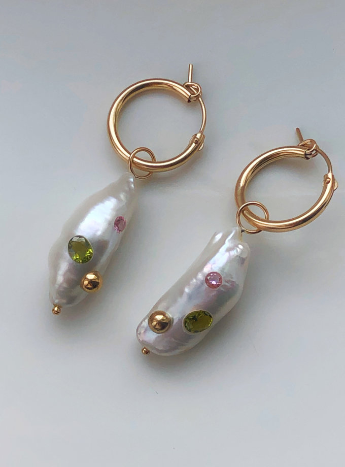 Сережки кільця з перлинами та встаками цирконів SLR_SSER_010, фото 1 - в интернет магазине KAPSULA