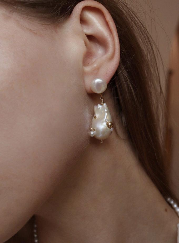 Асиметричні сережки з перлин зі вставками SLR_SSER_011, фото 1 - в интернет магазине KAPSULA