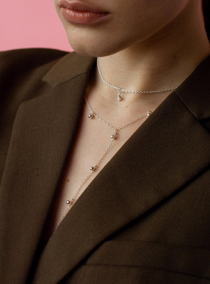 Кольє краватка з срібними дропсами SLR_SSN_022, фото 1 - в интернет магазине KAPSULA