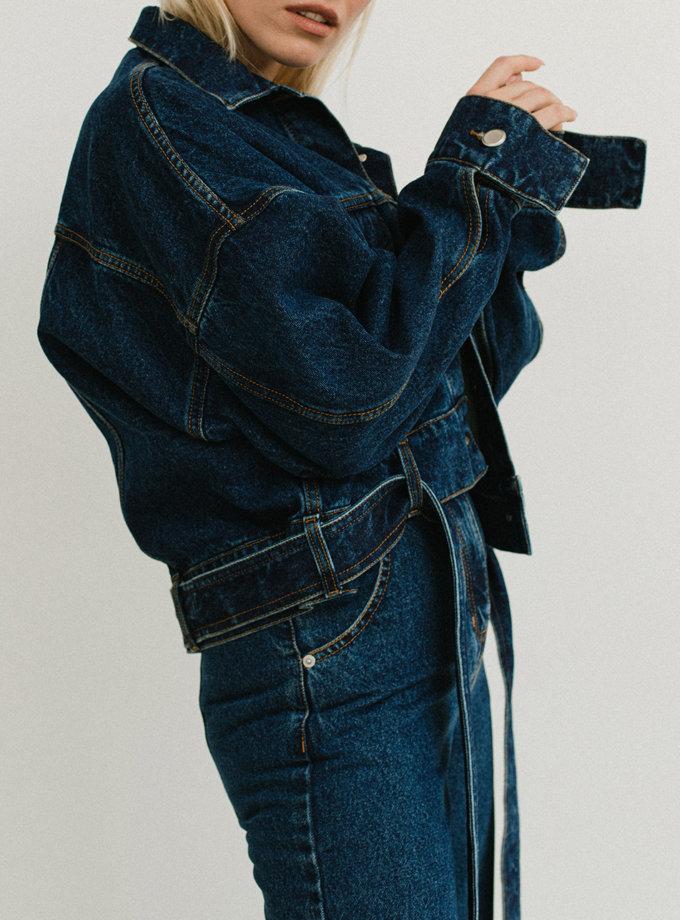 Джинсова куртка з поясом AIS_D7aDB, фото 1 - в интернет магазине KAPSULA