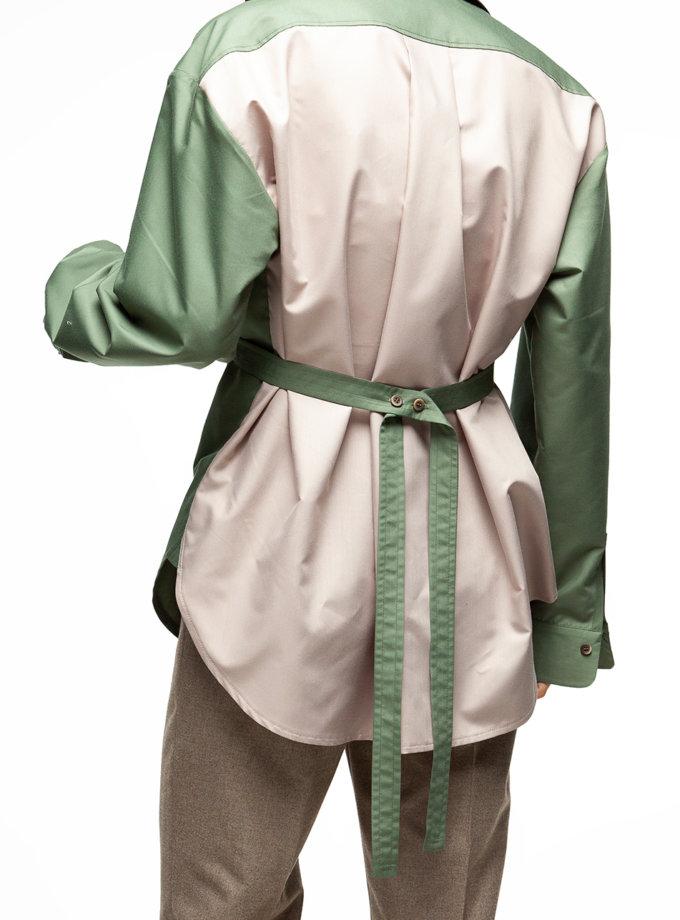 Рубашка двухцветная с поясом IAM_02ctn0603, фото 1 - в интернет магазине KAPSULA