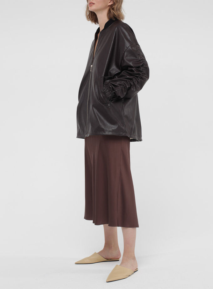 Куртка-бомбер из экокожи MISS_JA-009-brown, фото 1 - в интернет магазине KAPSULA