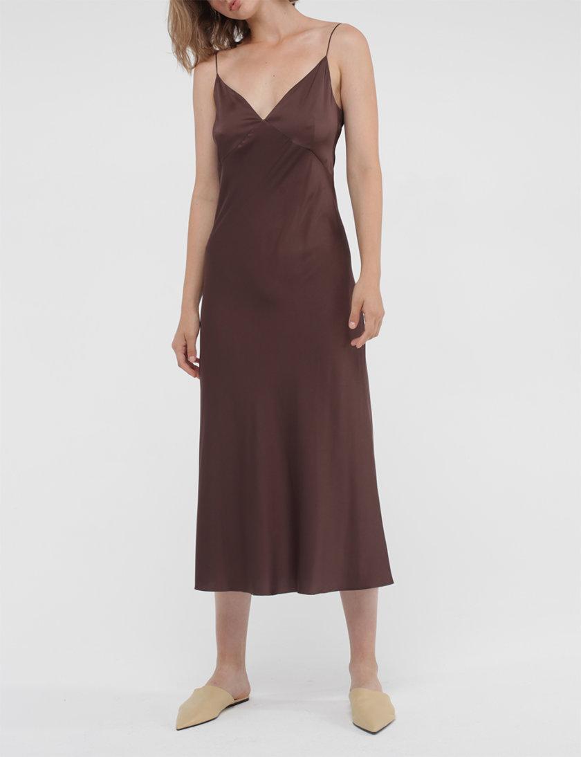 Платье миди на тонких бретельках MISS_DR-038-brown, фото 1 - в интернет магазине KAPSULA