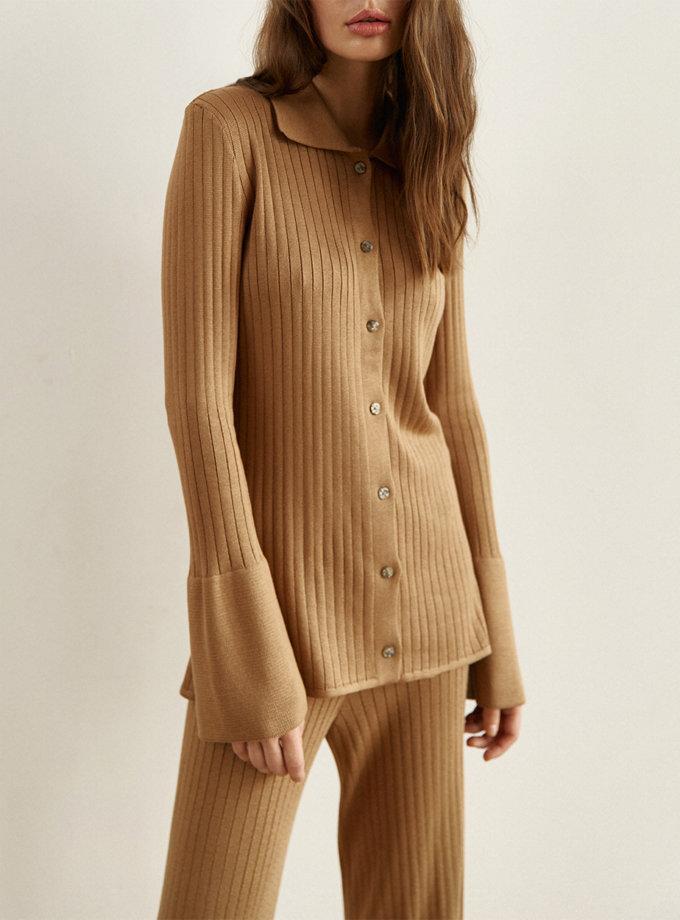 Удлиненная рубашка Harper camel SYI_CS_18375-kapsula, фото 1 - в интернет магазине KAPSULA