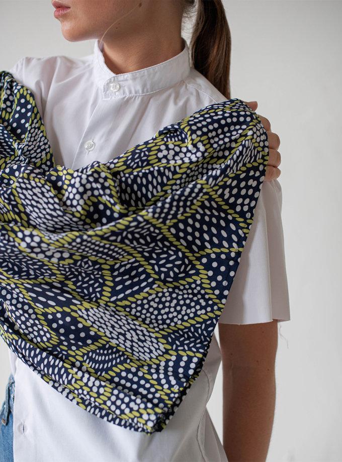 Асимметричная блуза из хлопка NNB_WT.BLUE.ABSTRACT.ASYMMETRIC, фото 1 - в интернет магазине KAPSULA