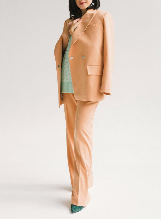 Двубортный костюм с прямыми брюками MMT_097_014а_peach, фото 1 - в интернет магазине KAPSULA