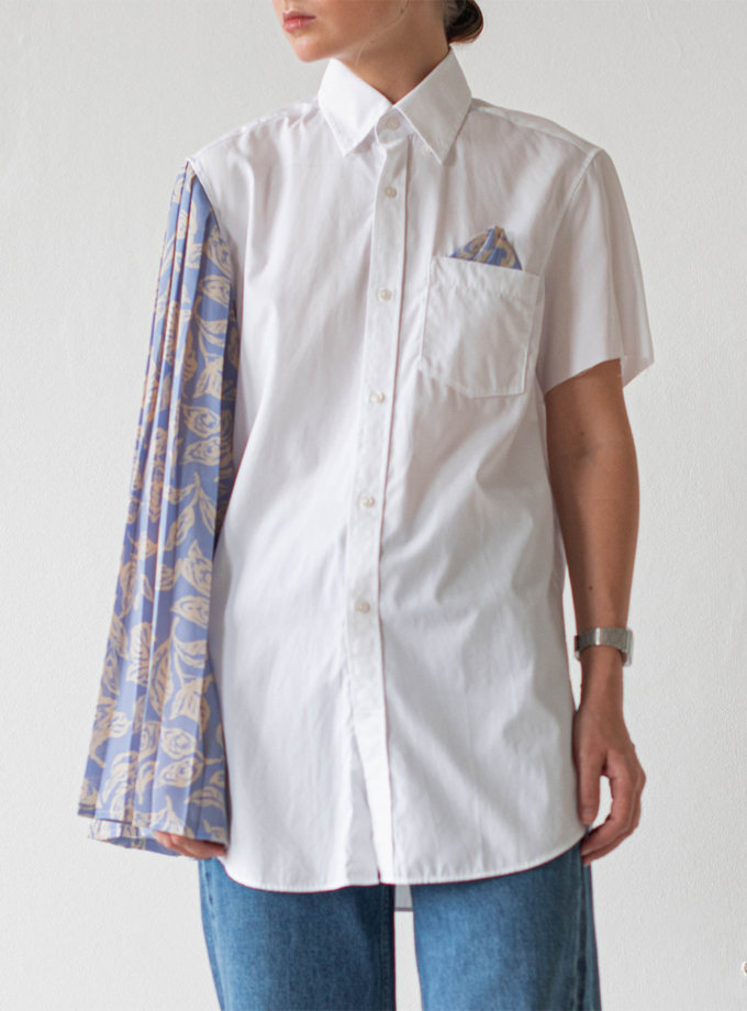 Асимметричная блуза из хлопка NNB_WT.BLUE.FLOWER.ASYMMETRIC, фото 1 - в интернет магазине KAPSULA