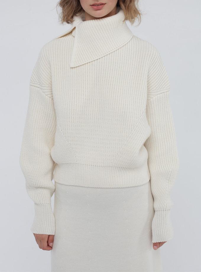 Вовняний джемпер зі з'ємним коміром MISS_PU-022-white, фото 1 - в интернет магазине KAPSULA
