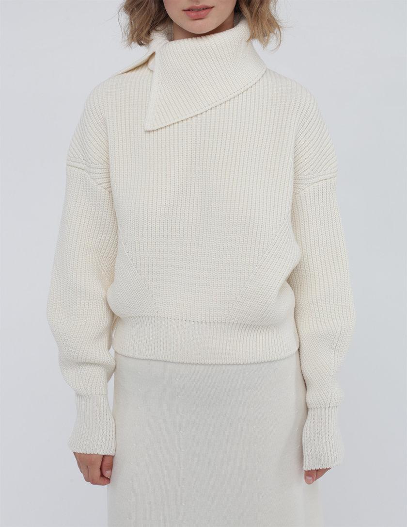 Шерстяной джемпер со съемным воротником MISS_PU-022-white, фото 1 - в интернет магазине KAPSULA