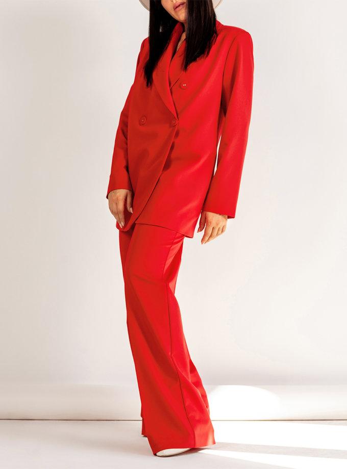 Двубортный костюм с прямыми брюками MMT_096_014а_scarlet, фото 1 - в интернет магазине KAPSULA