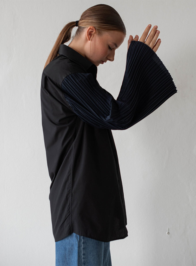 Асимметричная блуза из хлопка NNB_BL.BLUE.ASYMMETRIC, фото 1 - в интернет магазине KAPSULA