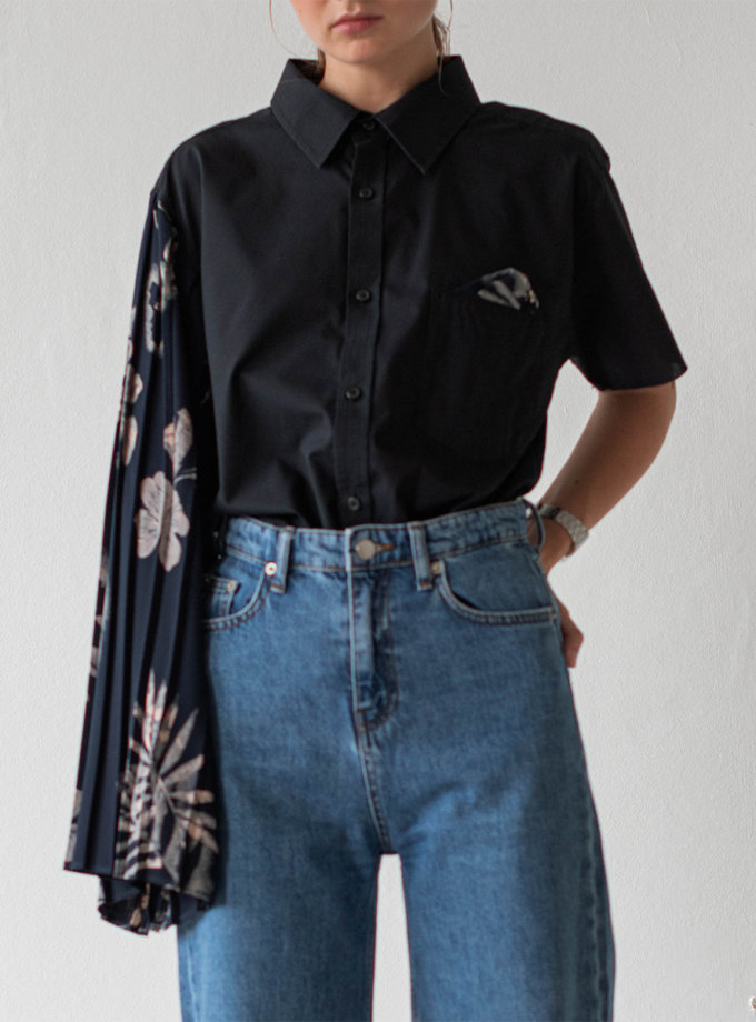 Асимметричная блуза из хлопка NNB_BL.BLUE.FLOWER.ASYMMETRIC, фото 1 - в интернет магазине KAPSULA