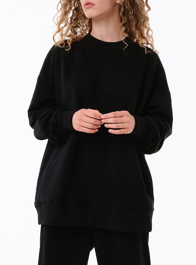 Хлопковый свитшот свободного кроя MGN_1948BK, фото 1 - в интернет магазине KAPSULA