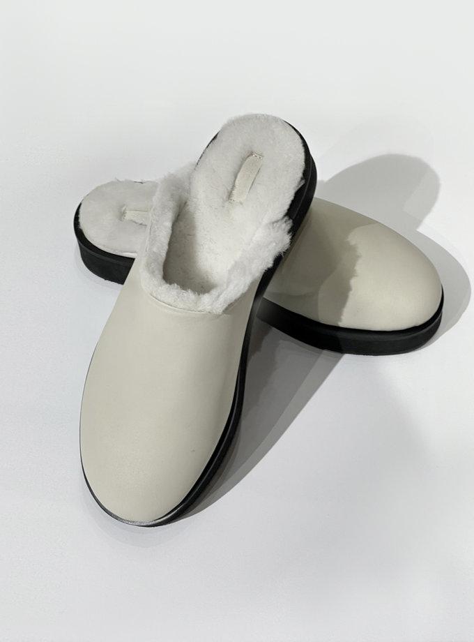 Шкіряні сабо з хутром ETP_SBF-0088-Creamy, фото 1 - в интернет магазине KAPSULA
