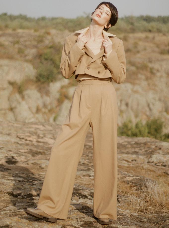 Широкие прямые брюки с защипами GRG_G-210305, фото 1 - в интернет магазине KAPSULA