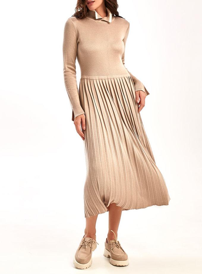 Платье плиссе с разрезом на запах NBL_2109-DR-BEG, фото 1 - в интернет магазине KAPSULA