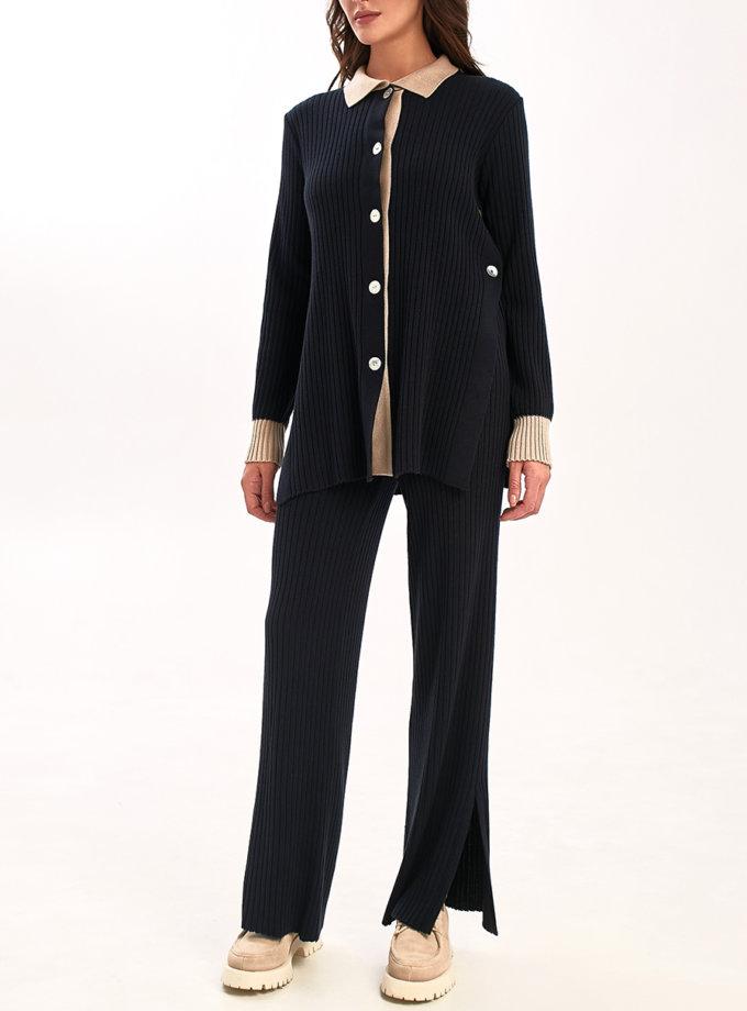Прямые брюки с разрезами NBL_2108-TR-BLU, фото 1 - в интернет магазине KAPSULA