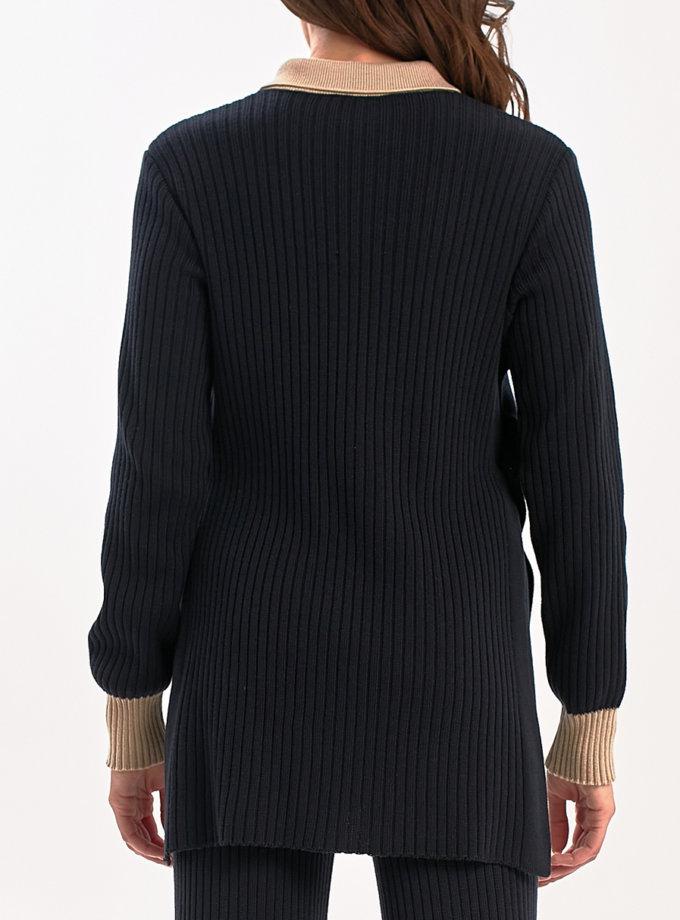 Кардиган на планке с манжетами NBL_2108-BL-BEG, фото 1 - в интернет магазине KAPSULA