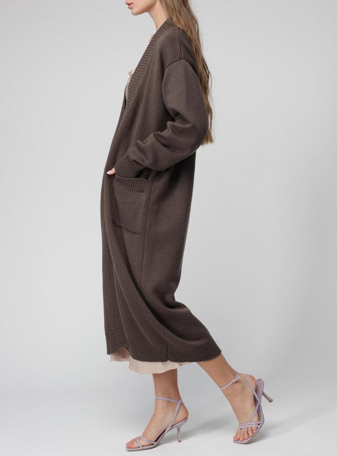 Кардиган з вовни на запах MISS_JA-017-brown-coat, фото 1 - в интернет магазине KAPSULA