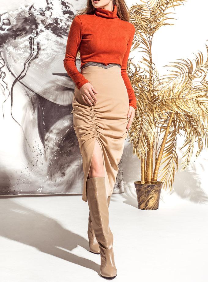 Юбка миди с декоративной стяжкой KS_FW25_06, фото 1 - в интернет магазине KAPSULA