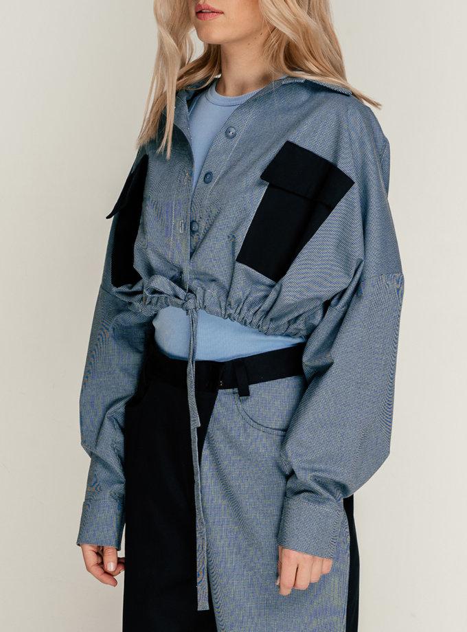 Хлопковая укороченная рубашка SE_SE21-Sh-Oxi-Bl, фото 1 - в интернет магазине KAPSULA