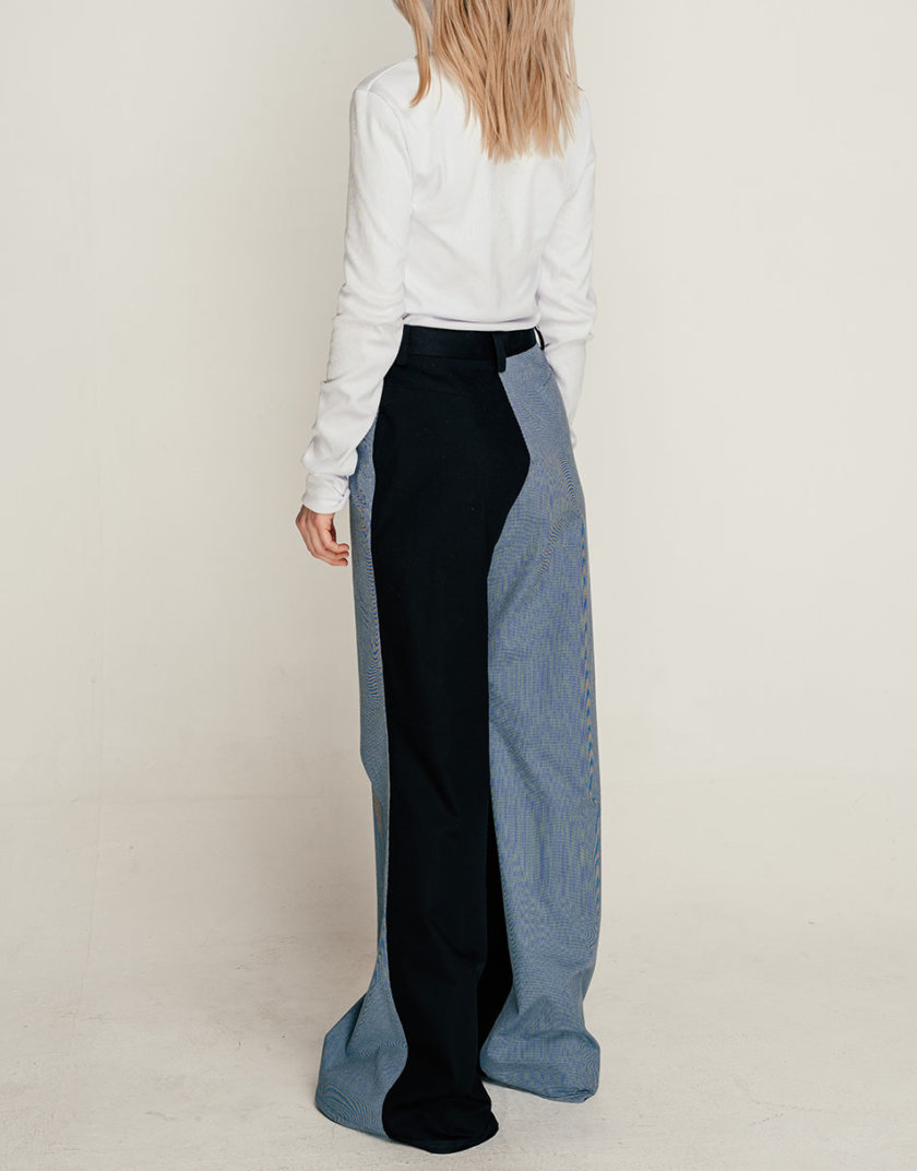 Хлопковые брюки клеш SE_SE21-Pn-Magnoli-BBl, фото 1 - в интернет магазине KAPSULA