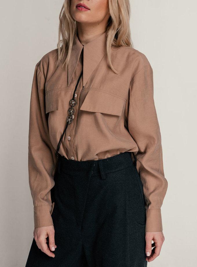 Шелковая рубашка SE_SE21-Sh-Gerania-Bg, фото 1 - в интернет магазине KAPSULA