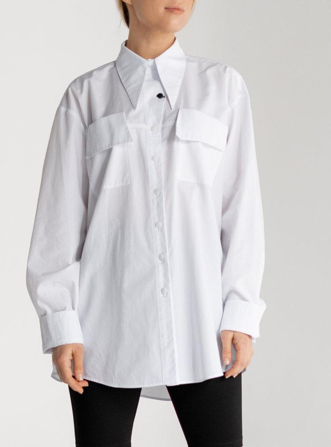 Хлопковая рубашка свободного кроя SE_SE21-Sh-Gentiana-W, фото 1 - в интернет магазине KAPSULA