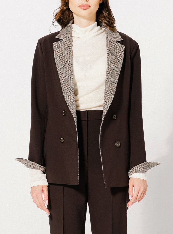Жакет двобортний KLNA_jacket_brown, фото 1 - в интернет магазине KAPSULA