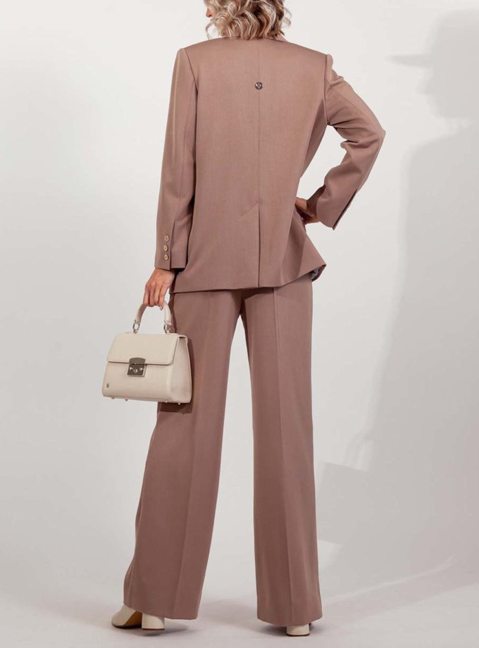 Двобортний костюм з прямими брюками MMT_097_014а_cappuccino, фото 1 - в интернет магазине KAPSULA