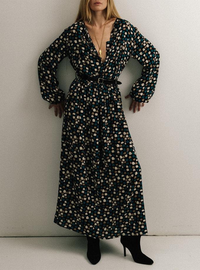 Платье макси с кулисой на талии NOMA_82021, фото 1 - в интернет магазине KAPSULA