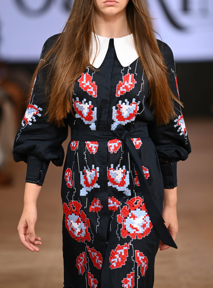 Лляна сукня міді Адель FOBERI_FW21001, фото 1 - в интернет магазине KAPSULA