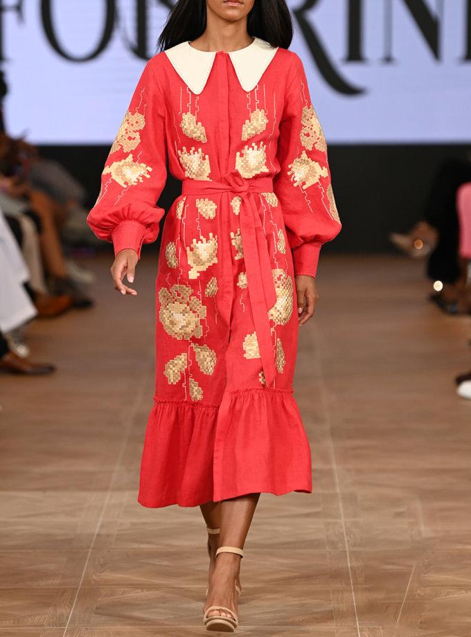 Лляна сукня міді Адель FOBERI_FW21002-1, фото 1 - в интернет магазине KAPSULA
