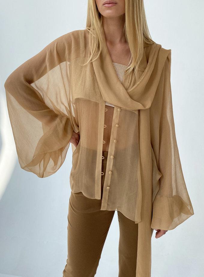 Блуза шифоновая с цельнокройным рукавом LUSSO_SS21_14, фото 1 - в интернет магазине KAPSULA