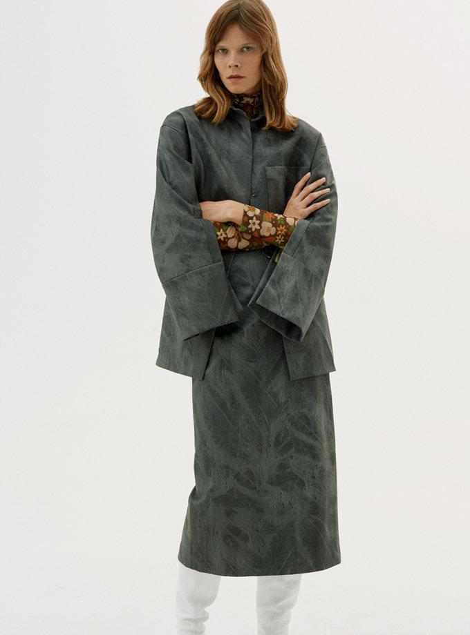 Юбка из эко-кожи gray SAYYA_FW1208/1, фото 1 - в интернет магазине KAPSULA
