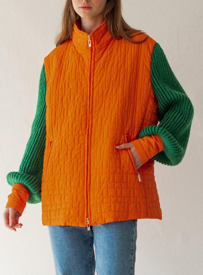 Куртка с вязанными рукавами NNB_knit_slv_GREEN, фото 1 - в интернет магазине KAPSULA