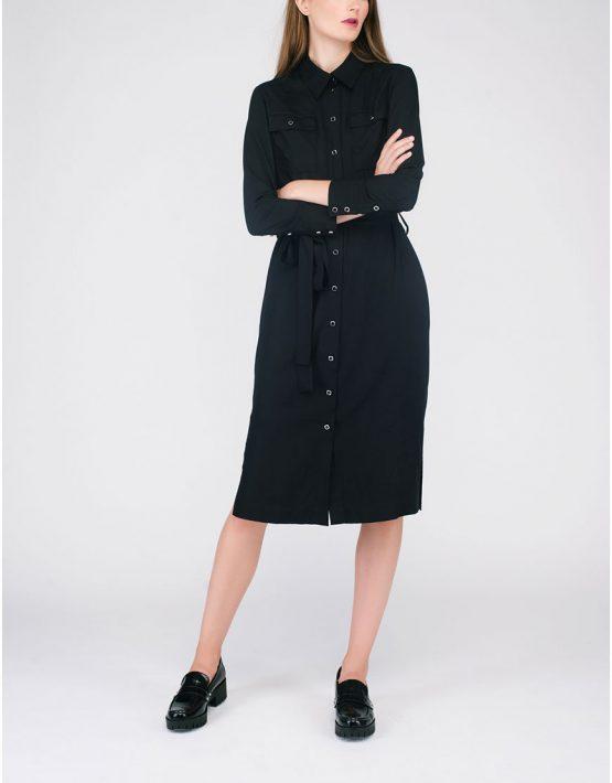 Платье-рубашка с поясом CYAN_DS#G01, фото 4 - в интеренет магазине KAPSULA