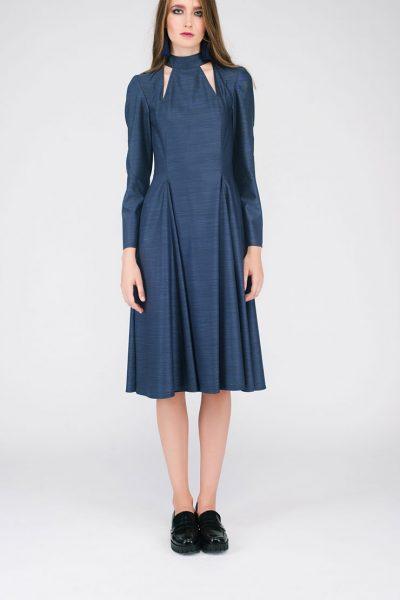 Платье с вырезами и бантом на шее CYAN_DS#G04, фото 1 - в интеренет магазине KAPSULA