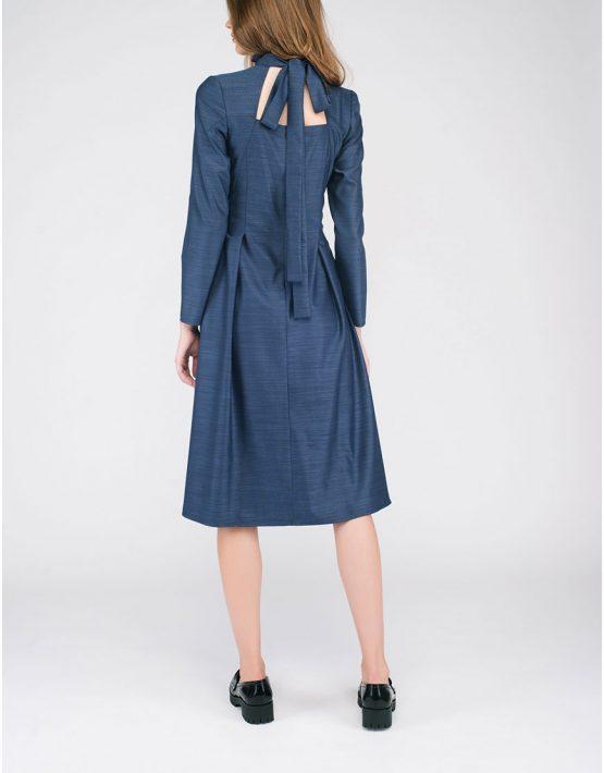 Платье с вырезами и бантом на шее CYAN_DS#G04, фото 4 - в интеренет магазине KAPSULA