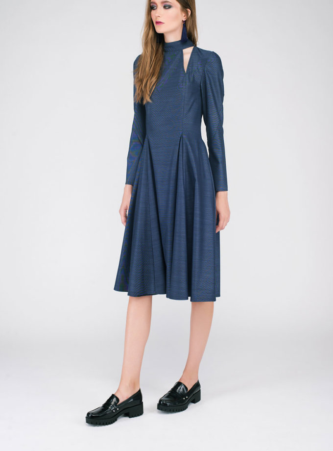 Платье с вырезами и бантом на шее CYAN_DS#G04_outlet, фото 1 - в интеренет магазине KAPSULA