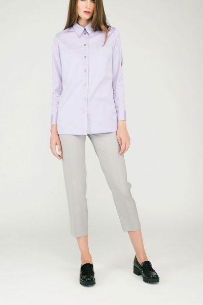 Бледно-розовая рубашка с разрезами CYAN_SH#G01, фото 5 - в интеренет магазине KAPSULA