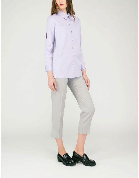 Бледно-розовая рубашка с разрезами CYAN_SH#G01, фото 3 - в интеренет магазине KAPSULA
